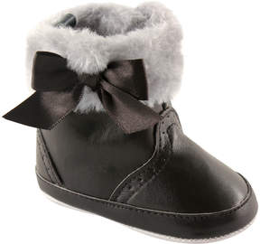 Luvable Friends Black Bow Faux Fur-Trim Leather Booties - Girls