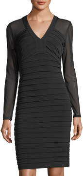 London Times Jersey Shutter Illusion Sheath Dress
