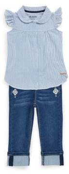 Hudson Little Girl's Two-Piece Flutter-Sleeve Top and Embroidered Jeans Set