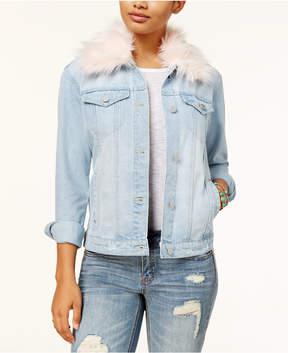 Almost Famous Juniors' Faux-Fur-Collar Denim Jacket