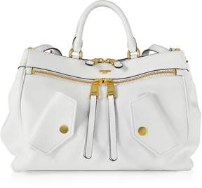 Moschino White Leather Satchel Bag