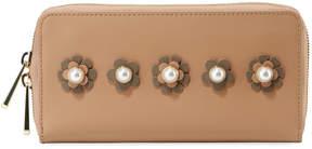 Zac Posen Earthette Checkbook Wallet w/Floral Appliques, Tan