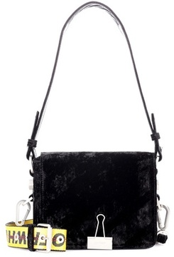 Off-White Binder Clip velvet shoulder bag