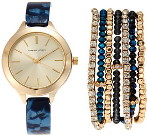 Adrienne Vittadini ADST1256G165 Gold-Tone & Blue Watch & Bracelet Set