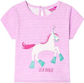 Joules Neon Lilac Stripe Horse Applique Tee