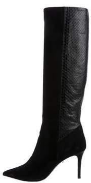 Barbara Bui Snakeskin Pointed-Toe Knee-High Boots