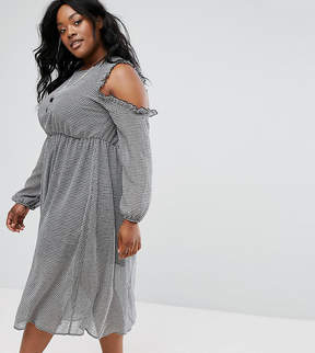 Alice & You Ruffle Cold Shoulder Tea Dress In Gingham