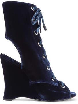 Prada Lace-up Velvet Ankle Boots - Navy