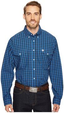 Cinch Long Sleeve Plain Weave Plaid Double Pocket Men's Clothing
