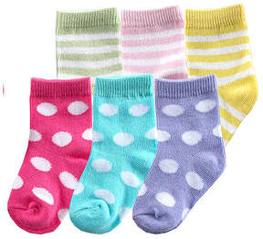Luvable Friends Pink Dot & Stripe Six-Pair Socks Set - Infant