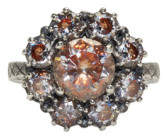 Bottega Veneta Silver Flowers Zircon Ring