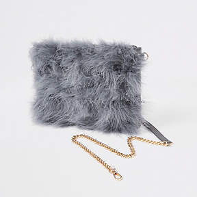 River Island Grey marabou faux fur cross body pouch bag