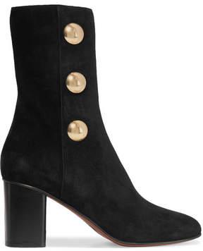 Chloé Orlando Embellished Suede Ankle Boots - Black