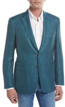 Brioni Solid Wool-Silk-Linen Two-Button Blazer, Teal Green/Blue