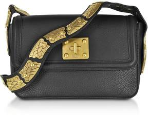 RED Valentino Large Black Pebble Leather Sin Crossbody Bag