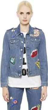 Au Jour Le Jour Embellished Patch Cotton Denim Jacket