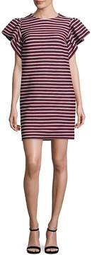 Peserico Women's Striped Ruffle Sleeve Dress