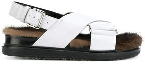 Marni crossover buckle fur soled sandals
