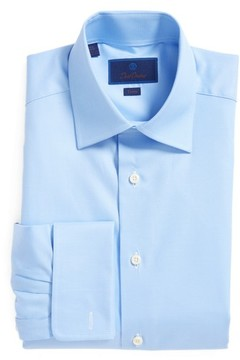 David Donahue Men's Trim Fit Texture French Cuff Dress Shirt