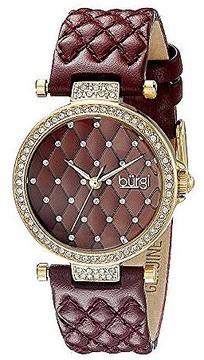 Burgi Burgundy Dial Ladies Crystal Watch