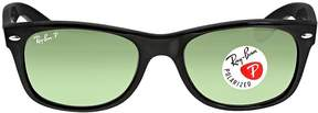 Ray-Ban Open Box New Wayfarer Polarized Black/Green 52mm Sunglasses RB2132 901/58