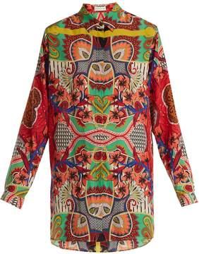 Etro Point-collar graphic paisley-print silk blouse