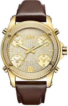 JBW Diamond Mens Gold Tone Strap Watch-J6354a