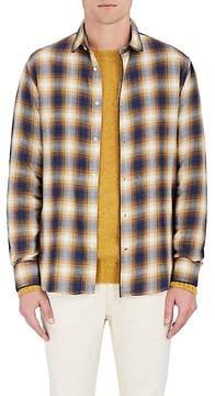 Officine Generale Men's Plaid Cotton Flannel Button-Front Shirt
