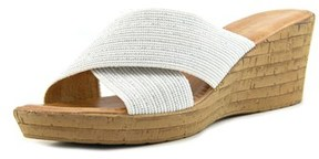 Italian Shoemakers Italian Shoe Makers Everly Open Toe Canvas Wedge Sandal.
