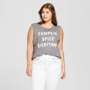 Fifth Sun Women's Plus Size Pumpkin Spice Everything Graphic Tank Top Gray