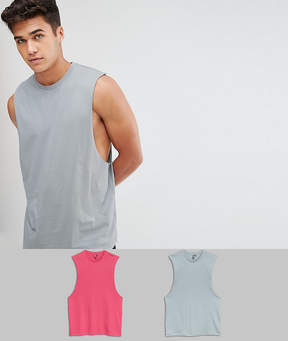 Asos DESIGN tank with dropped armhole 2 pack save
