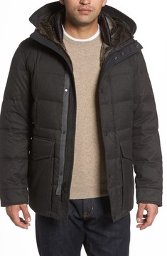 Cole Haan Men's Faux Fur Trim Mixed Media Hooded Down Jacket
