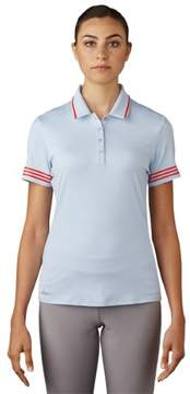 adidas 2017 Women's 3-Stripes Tipped Short Sleeve Polo Shirt (Easy Blue - XL)