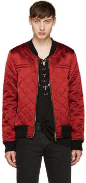 Balmain Red Logo Patch Bomber Jacket