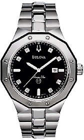 Bulova Men's Black Diamond Dial Bracelet Watch