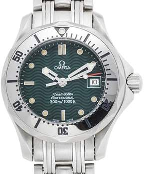 Omega Seamaster Stainless Steel with Green Dial Quartz 28mm Mens Watch