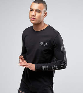 Nicce London long sleeve t-shirt in black with reflective sleeve print