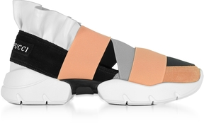 Emilio Pucci Multi White, Black and Peach Suede and Leather Ruffle Sneakers