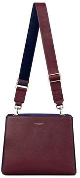 Aspinal of London Small Ella Hobo In Burgundy Pebble With Bordeaux Navy Strap