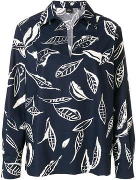 Aspesi feather print split neck shirt