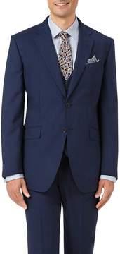 Charles Tyrwhitt Indigo Blue Slim Fit Panama Puppytooth Business Suit Wool Jacket Size 38