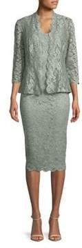 Alex Evenings Tea-Length Lace Dress with Illusion Open Jacket