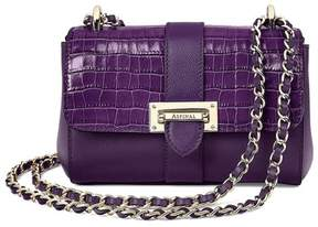 Aspinal of London Micro Lottie Bag In Deep Shine Amethyst Small Croc