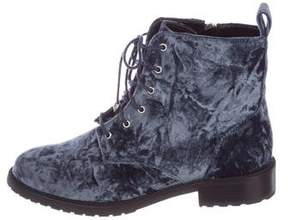 Rebecca Minkoff Velvet Round-Toe Ankle Boots
