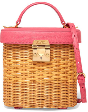 Mark Cross Benchley Textured Leather-trimmed Rattan Shoulder Bag - Pink
