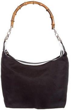 Gucci Nylon Bamboo Shoulder Bag - BLACK - STYLE