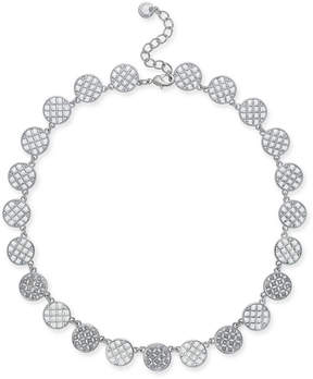 Charter Club Silver-Tone Openwork & Pave Disc Collar Necklace, 18 + 2 extender, Created for Macy's