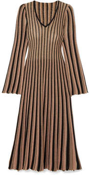 ADAM by Adam Lippes Pleated Striped Metallic Knitted Midi Dress - Gold