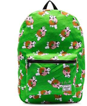 Herschel lime green Snoopy print dual compartment backpack
