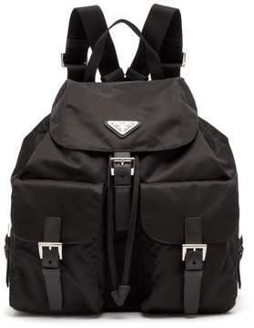 Prada Classic Leather Trimmed Nylon Backpack - Womens - Black